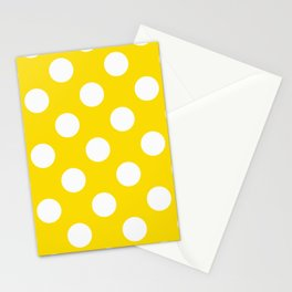 Geometric Orbital Spot Circles In Bright Summer Yellow & White Stationery Cards