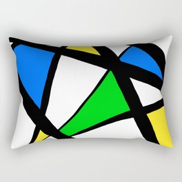 China Blue, Apple Green and Sunshine Yellow Abstract Rectangular Pillow