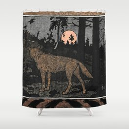 Wolf in the Night By Ivan Biblin Shower Curtain