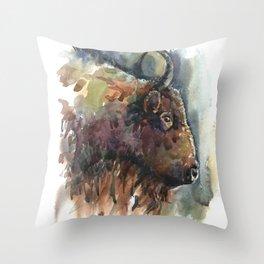 Bison. Throw Pillow