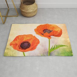 Two beautiful poppies with textures Rug