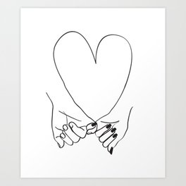 Pinky Promise His and Her Illustration Art Print