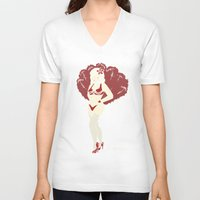 burlesque V-neck T-shirts featuring Burlesque by Becky Ryan