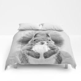 Squirrel 2 - Black & White Comforters
