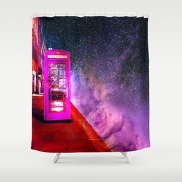 SPACE PHONE ON JUPITER Shower Curtain