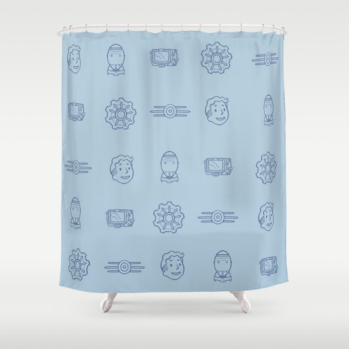 Fallout Vault Dweller Pattern Shower Curtain