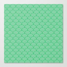 Green Concentric Circle Pattern Canvas Print