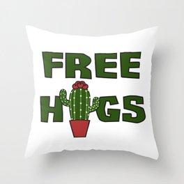 Cati cactus free hugs hug me stin prickly plant saying funny gift idea Throw Pillow