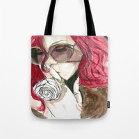 rihanna Tote Bags featuring Rihanna by Dee Andrews