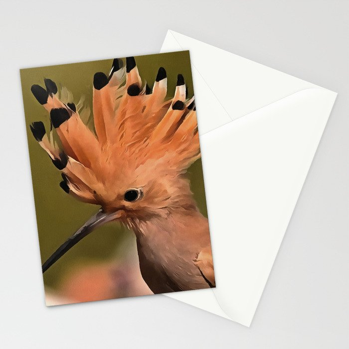 Beautiful Hoopoe Bird With Crown Of Feathers Stationery Cards