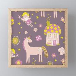 Fairytale Forest Fairy Toadstool House Unicorn Framed Mini Art Print