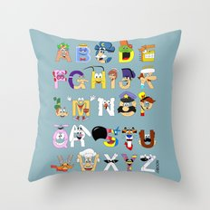Breakfast Mascot Alphabet Throw Pillow