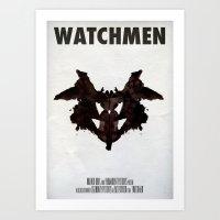 watchmen Art Prints featuring Watchmen - Rorschach  by Fabio Castro