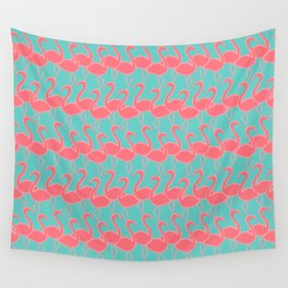 Flamingo Flamingle - coral pink on aqua Wall Tapestry