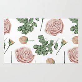 Flower Shop Roses Pattern White Rug