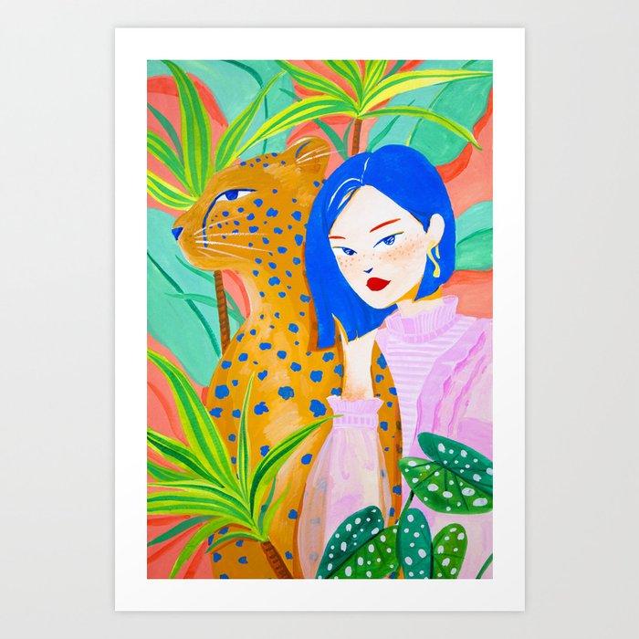 Short Hair Girl and Leopard in Garden Art Print