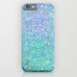Turquoise Colorful Flower Mandala iPhone Case