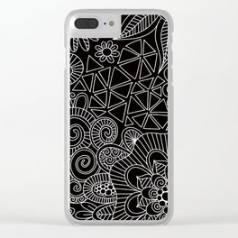 Black Doodle Pattern Clear iPhone Case