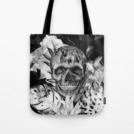 Black White Boho Skull Tote Bag