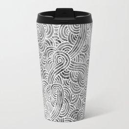 Grey and white swirls doodles Travel Mug