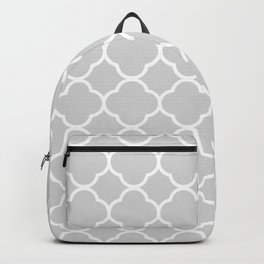 Gray & White Quatrefoil Backpack