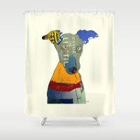 greyhound Shower Curtains featuring kacy (greyhound  by bri.buckley
