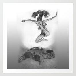 LIBERTE'! black and white Art Print