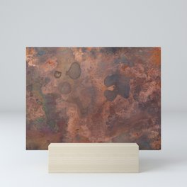 Tarnished, Stained and Scratched Copper Metal Texture Industrial Art Mini Art Print