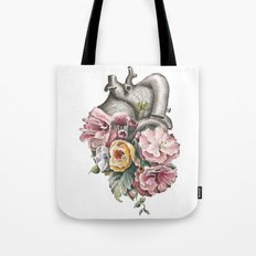 Floral Anatomy Heart Tote Bag