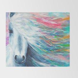 Rainbow Horse Throw Blanket