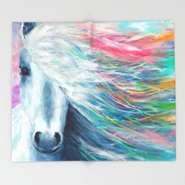 Rainbow Horse Throw Blanket