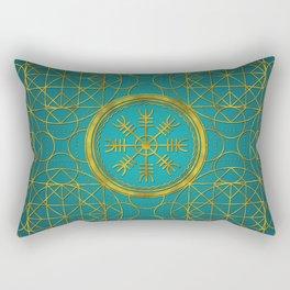 Viking protection runes helm of awe talisman Rectangular Pillow