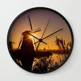 Dutch Windmills of Kinderdijk at sunrise Wall Clock