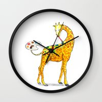 giraffe Wall Clocks featuring Giraffe by gunberk
