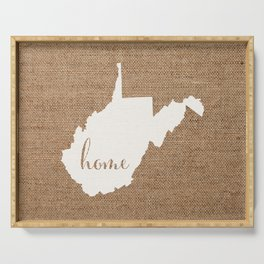 West Virginia is Home - White on Burlap Serving Tray
