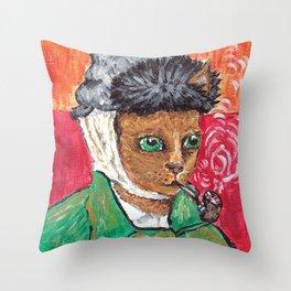 Vincent Van Miaou Throw Pillow