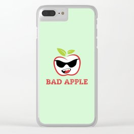 Bad Apple in Black Sunglasses with Attitude Clear iPhone Case