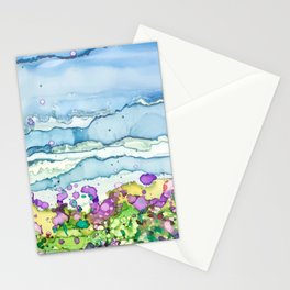 Lavender Field and Blue Sky Alcohol Ink Painting Stationery Cards