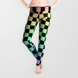 Rainbow and Black Checkers Leggings