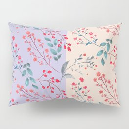 Hand painted watercolor red coral lilac floral pattern Pillow Sham