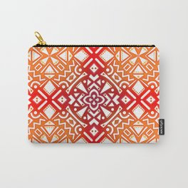 Tribal Tiles II (Red, Orange, Brown) Geometric Carry-All Pouch
