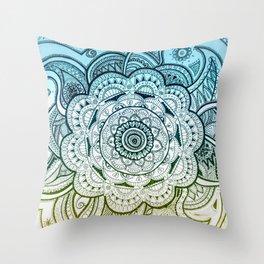 Mandala Blue Yellow Throw Pillow