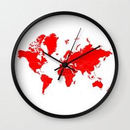 Minimalist World Map Red on White Background Wall Clock