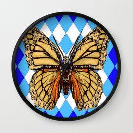 ABSTRACTED  BROWN SPICE  MONARCHS BUTTERFLY  &   BLUE-WHITE HARLEQUIN PATTERN Wall Clock