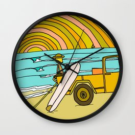 classic summer surf vibes forever Wall Clock