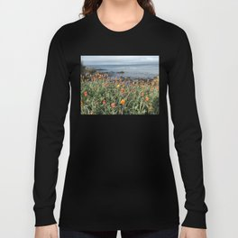 Orange blooms along the Pacific Long Sleeve T-shirt