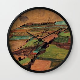 Rolling Plains at Harvest on the tartan hillsides landscape painting by Egon Schiele Wall Clock
