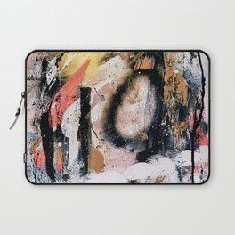 Lightning Soul: a vibrant colorful abstract acrylic, ink, and spray paint in gold, black, pink Laptop Sleeve