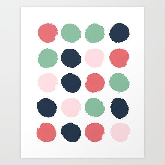 Painted dots abstract minimal modern art print for minimalist home decor nursery Art Print