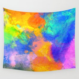 Spilt Rainbow - Abstract, watercolour art / watercolor painting Wall Tapestry